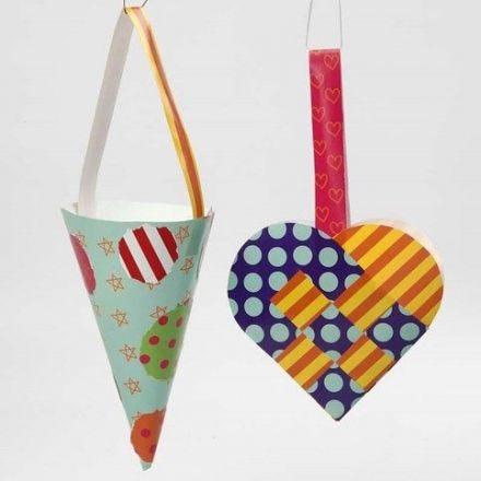 Flechtherz und Zuckertüte aus Glanzpapier