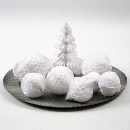 Ornamente und Schneebälle aus Harmonikapapier