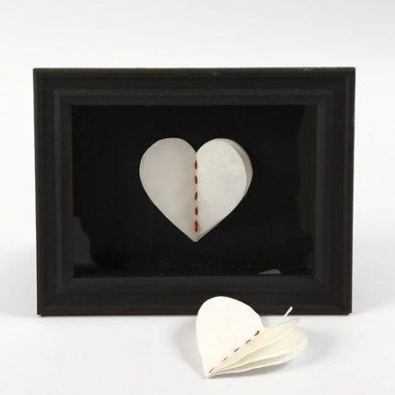 Gerahmtes 3D-Herz aus handgeschöpftem Papier