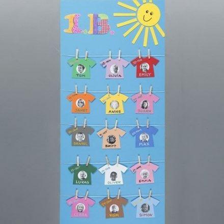 Ein Plakat mit einer Wäscheleine aus Namen und Bildern