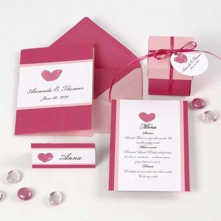 Einladung, Menükarte und Tischkarte in Pink und Rosa