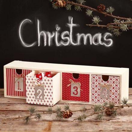 Découpage auf Schubladen für kleine Advent-Geschenke