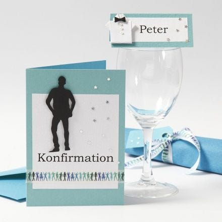 Einladungen und Tischkarten für die Konfirmation eines Jungen
