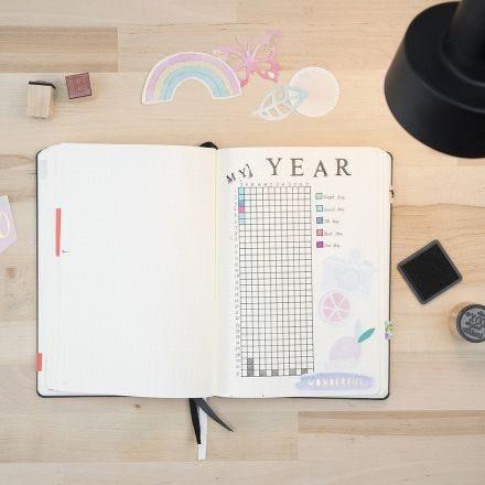 Stempel-Motive in einem Bullet Journal