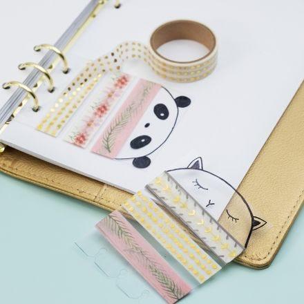 Halterung aus Hartfolie für Masking Tape in einem Kalender oder Bullet Journal