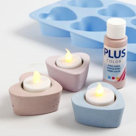 Kerzenhalter in Herzform, gegossen aus farbigem Cera-Mix-Gips