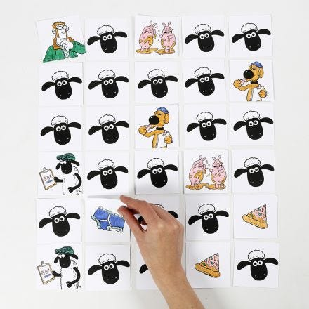Shaun das Schaf Memory-Spielkärtchen zum Ausmalen mit Filzstiften