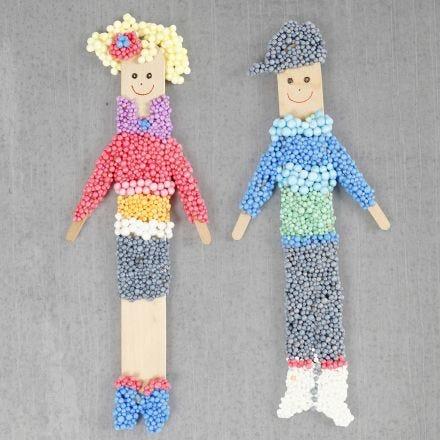 Magnetfiguren, gebastelt aus Eisstielen und Foam Clay