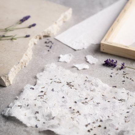 Handgeschöpftes Papier aus Kartonschnipseln und getrocknetem Lavendel