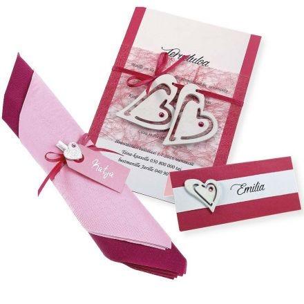Einladung, Tischkarte und Serviette in Pink und Weiß