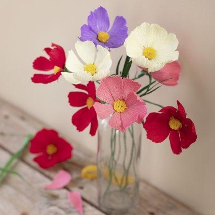 Cosmea-Blüten aus Krepppapier