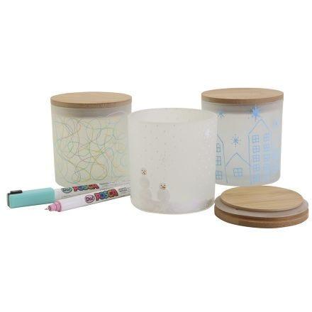 Milchglasbehälter mit dekorativer Bemalung