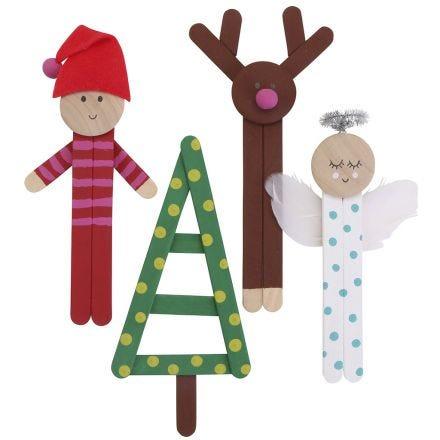 Farbenfrohe Weihnachtsfiguren aus Holzeisstielen