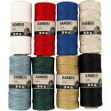 Bambuskordel, Stärke: 1 mm, Sortierte Farben, 8x65 m/ 1 Set