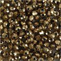 Glasschliffperlen, Größe 3x4 mm, Lochgröße 0,8 mm, Bronze metallic, 100 Stk/ 1 Pck