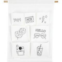 Organizer-Tasche zum Aufhängen, H: 46 cm, B: 34 cm, 145 g, Weiß, 1 Stk