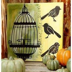 Leinwandkunst mit Vögel und einem Käfig
