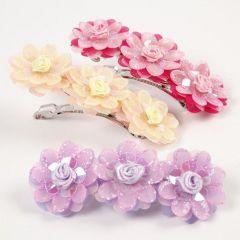 Haarspange mit Organzablumen und Paillettenrosen