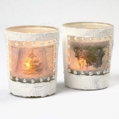 Teelichthalter mit 3D Strukturschnee