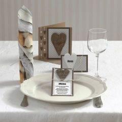 Einladung, Menü- und Tischkarte mit Herzen und Halbperlen