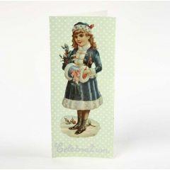 Eine Grußkarte mit Decoupage und nostalgischen Glanzbildern