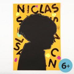 Schatten-Portrait auf verziertem Karton