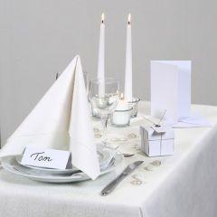 Inspiration für das Fest mit weißem Tischtuch und Tischschmuck