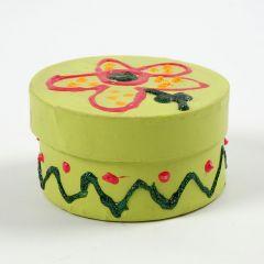 Bemalter runder Karton mit Deckel, dekoriert mit Glitzer