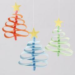 Weihnachtsbäume aus Papierstreifen mit Nabbi Perlen Stamm