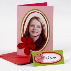 Doppelkarte mit Porträt auf farbigen Karton-Ovalen