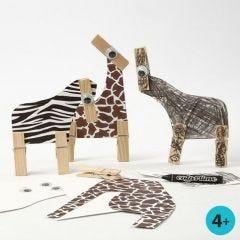 Wilde Tiere aus Karton mit Felldruck und Wäscheklammern