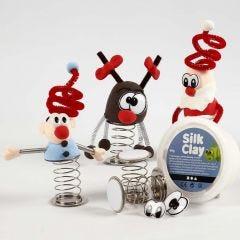 Weihnachtsfiguren aus Silk Clay mit Sprungfeder