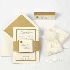 Einladung, Menü- und Tischkarte in Gold und Off-White