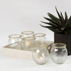 """Teelichter im """"frosted ice""""-Design mit Goldrand"""
