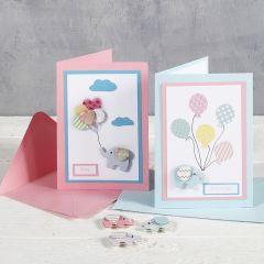 Doppelkarten mit Design-Stickern für die Baby Shower Party