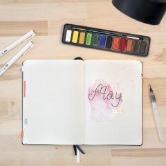 Bullet Journal, verziert mit Aquarellfarbe