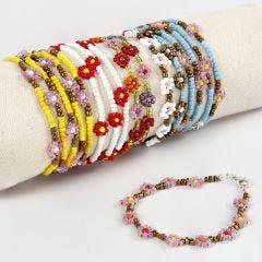 Blüten-Armbänder aus Rocaille Seed Beads
