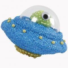 UFO aus Styropor mit Acryl-Cockpit, gestaltet mit Foam Clay und Pearl Clay