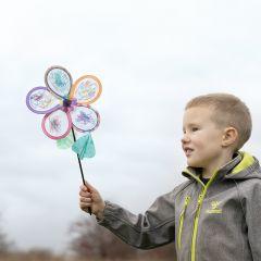 Blüten-Windmühle, verziert mit Textil-Markern