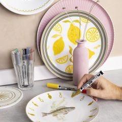 Altes Porzellan in neuem Look - mit Glas-/Porzellanmarkern bemalt