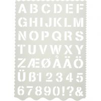 Buchstaben-/Zahlen-Schablone, Buchstaben und Zahlen, H: 25 mm, 21x29 cm, 1 Stk