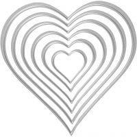 Stanz- und Prägeformen, Herzen, Größe 2,5x3-10x11 cm, 1 Stk