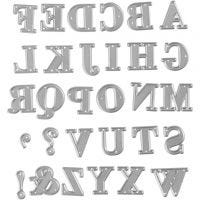 Stanzschablone, Alphabet, Größe 2x1,5-2,5 cm, 1 Stk