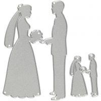 Stanzschablone, Brautpaar, Größe 52x81+23x35 mm, 1 Stk