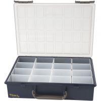 Sortimentskasten, inkl. 16 Einsetz-Boxen, H: 8 cm, Größe 33,8x26,1 cm, 1 Set