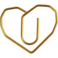 Klammern, Herz, Größe 30x20 mm, Gold, 6 Stk/ 1 Pck