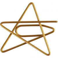 Klammern, Stern, Größe 30x30 mm, Gold, 6 Stk/ 1 Pck