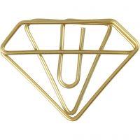 Klammern, Diamant-Form, H: 25 mm, B: 35 mm, Gold, 6 Stk/ 1 Pck