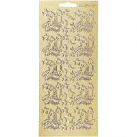 Sticker, Weihnachtskerzen, 10x23 cm, Gold, 1 Bl.