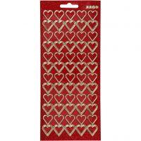 Sticker, Herzen, 10x23 cm, Gold, Rot mit Glitter, 1 Bl.